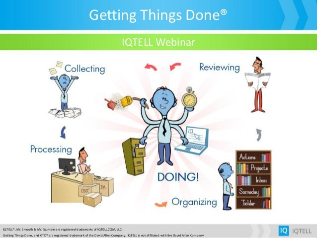 Getting Things Done® IQTELL®, Mr. Smooth & Mr. Stumble are registered trademarks of IQTELL.COM, LLC. Getting Things Done, ...