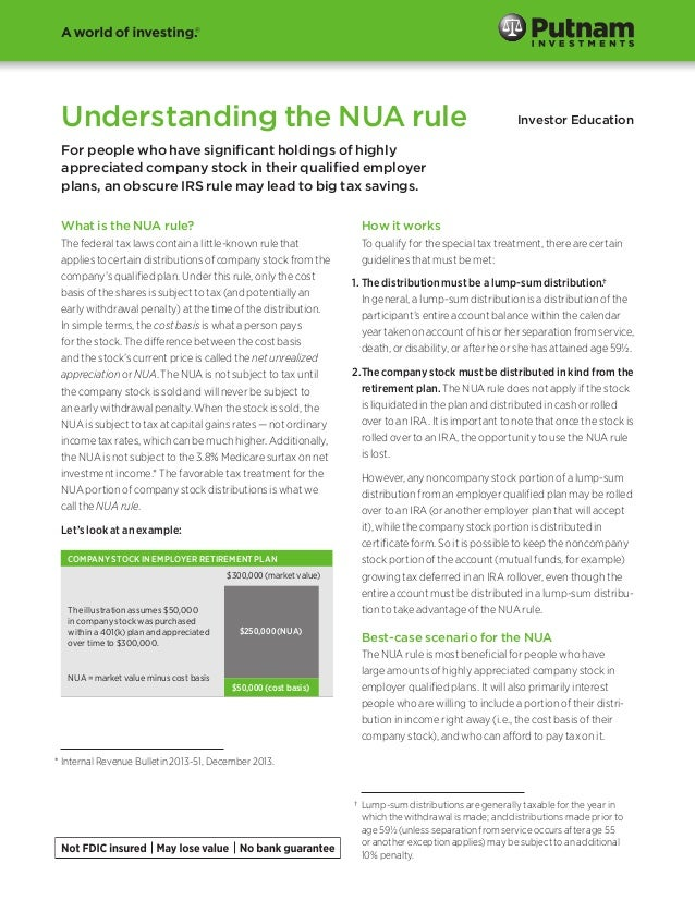 Understanding the NUA rule  Investor Education  For people who have significant holdings of highly appreciated company sto...