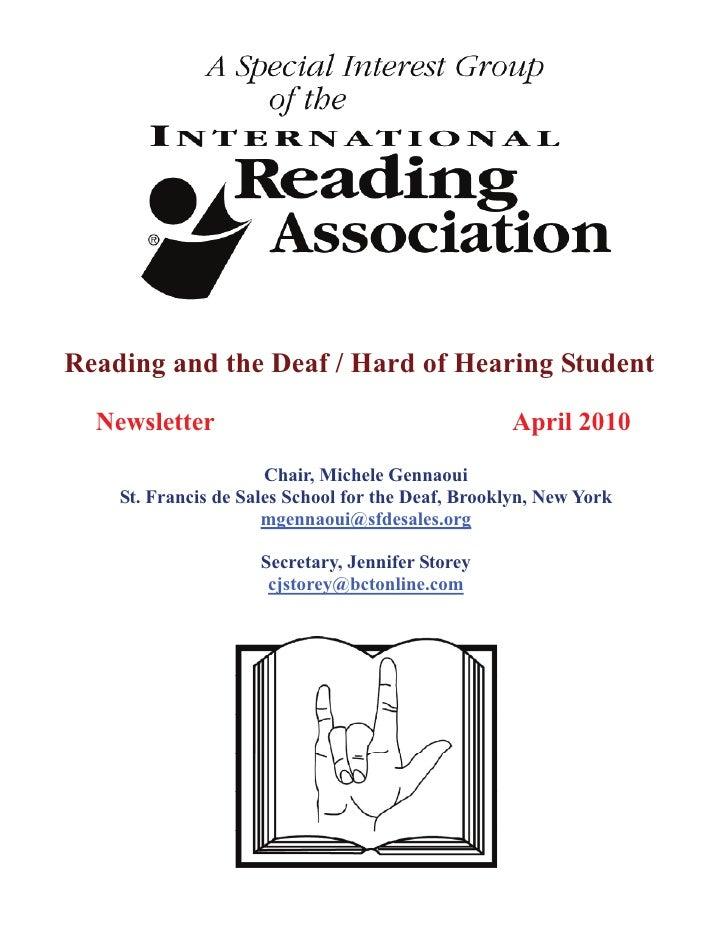 IRA SIG Deaf HH newsletter 2010