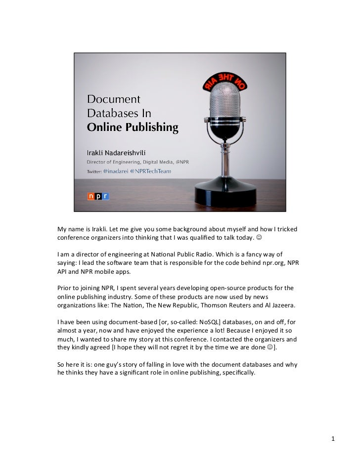 Document  Databases In  Online Publishing