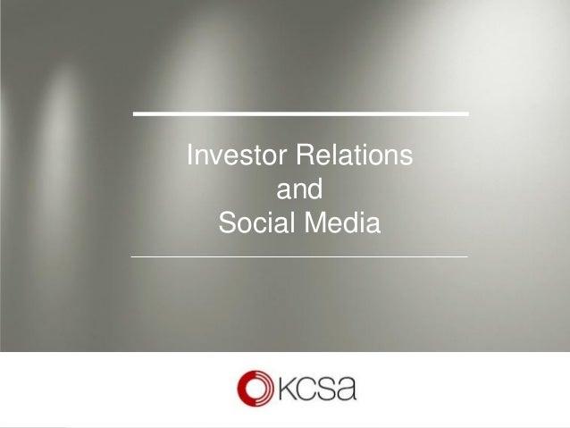 Investor Relations           and       Social Media1