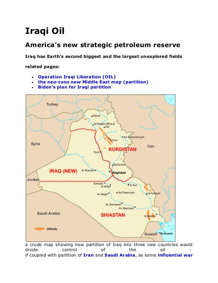 Iraqi OilAmericas new strategic petroleum reserveIraq has Earths second biggest and the largest unexplored fieldsrelated p...