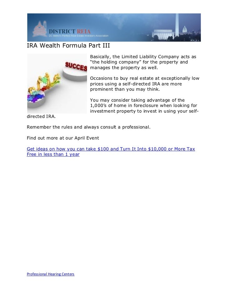 IRA Wealth Formula Part III