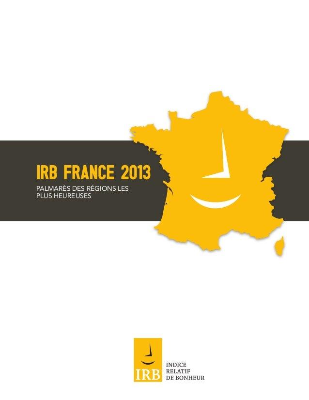 IRB FRANCE 2013PALMARÈS DES RÉGIONS LESPLUS HEUREUSES