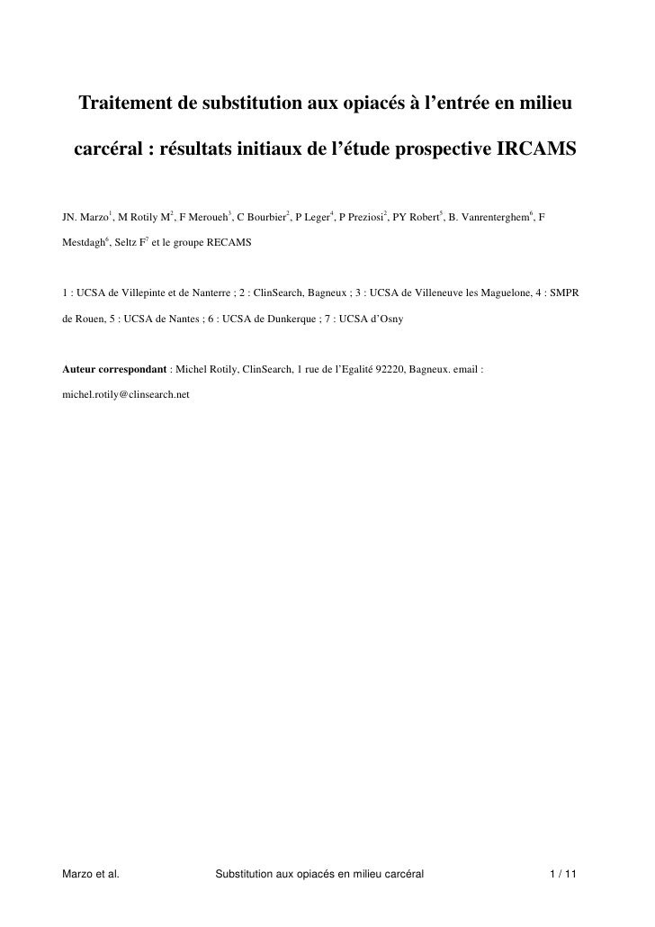 Traitement de substitution aux opiacés à l'entrée en milieu  carcéral : résultats initiaux de l'étude prospective IRCAMSJN...
