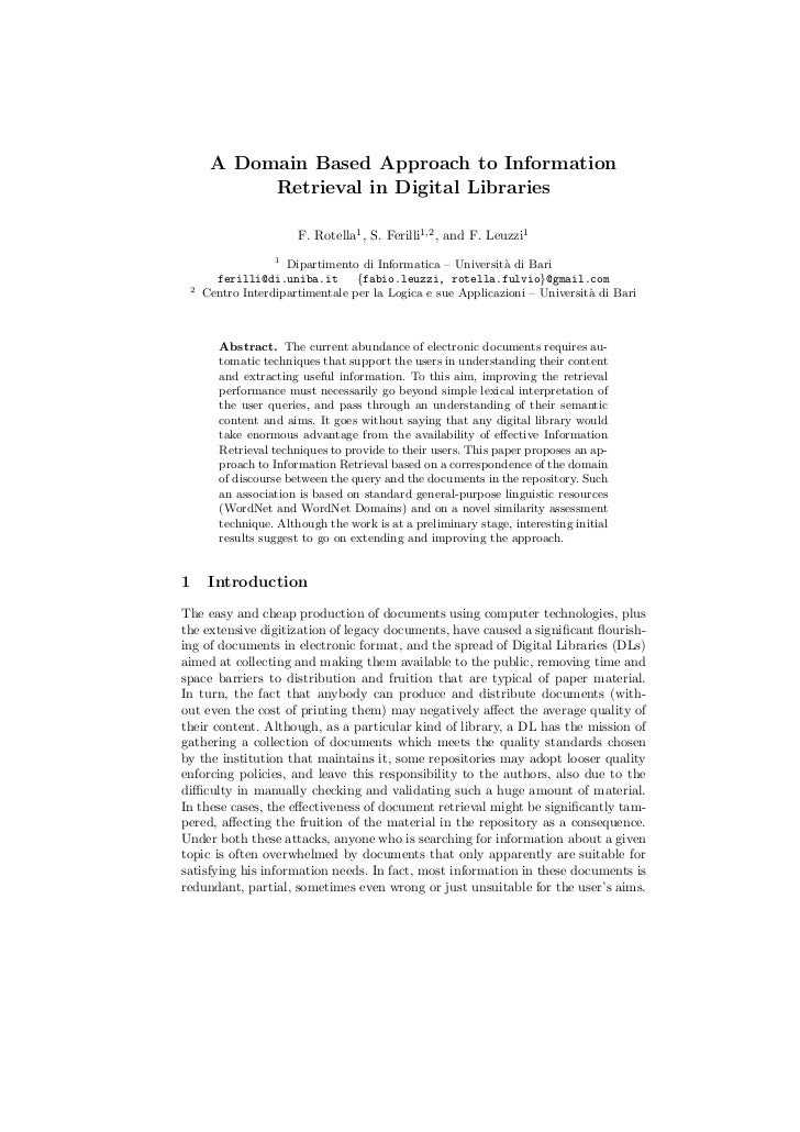 A Domain Based Approach to Information              Retrieval in Digital Libraries                          F. Rotella1 , ...