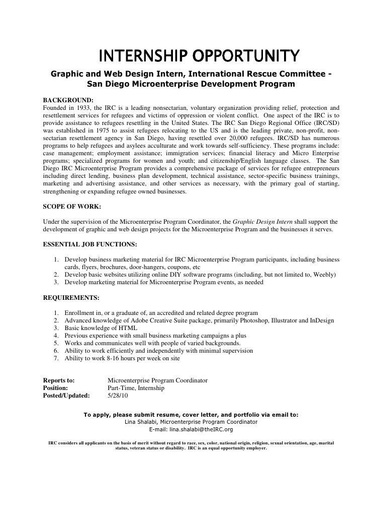 INTERNSHIP OPPORTUNITY   Graphic and Web Design Intern, International Rescue Committee -           San Diego Microenterpri...