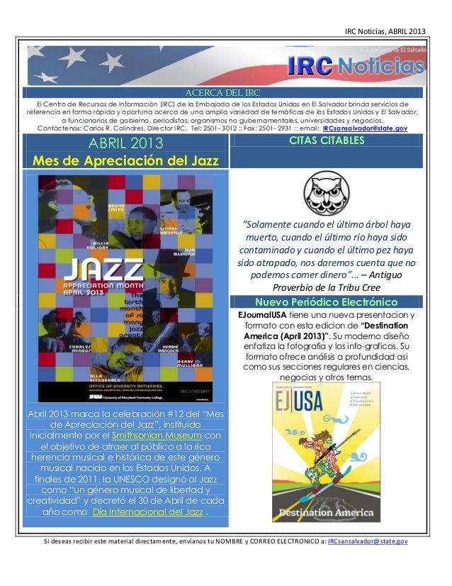 IRC Noticias, ABRIL 2013                                                ACERCA DEL IRC   El Centro de Recursos de Informac...