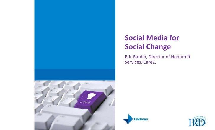 IRD Social Media Summit: Social Media for Social Good