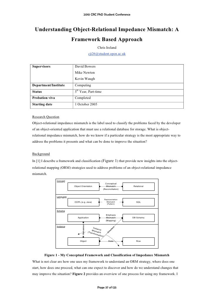 2010 CRC PhD Student Conference     Understanding Object-Relational Impedance Mismatch: A                             Fram...