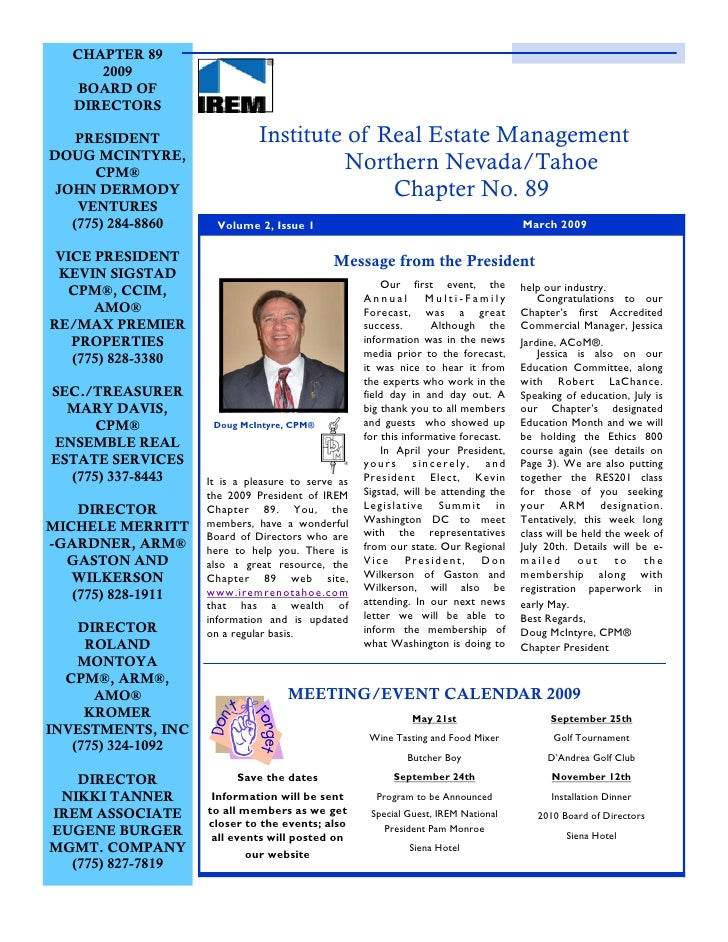 CHAPTER 89       2009     BOARD OF    DIRECTORS      PRESIDENT                 Institute of Real Estate Management DOUG MC...