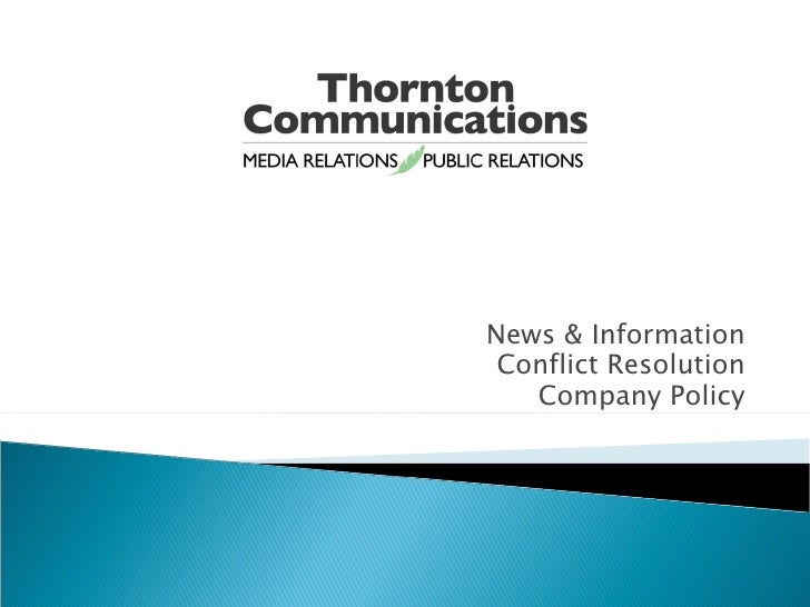 News & Information Conflict Resolution Company Policy