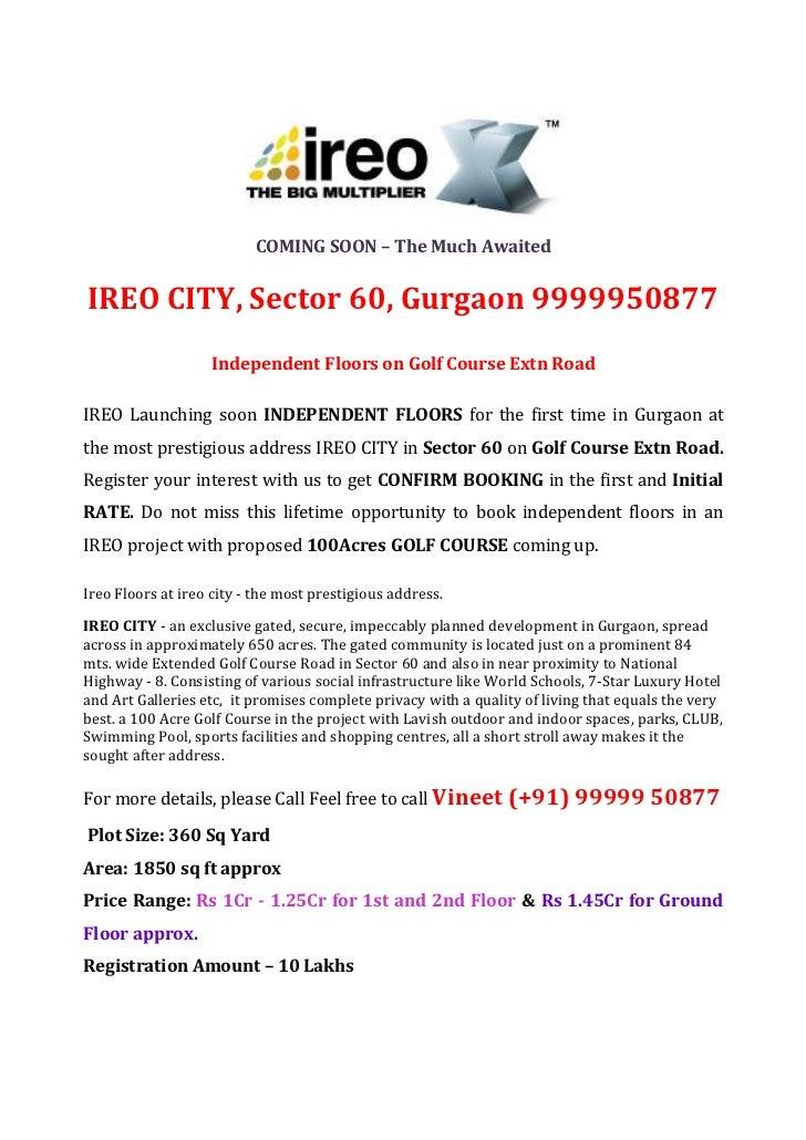 Ireo Independent Floors Gurgaon 9999950877