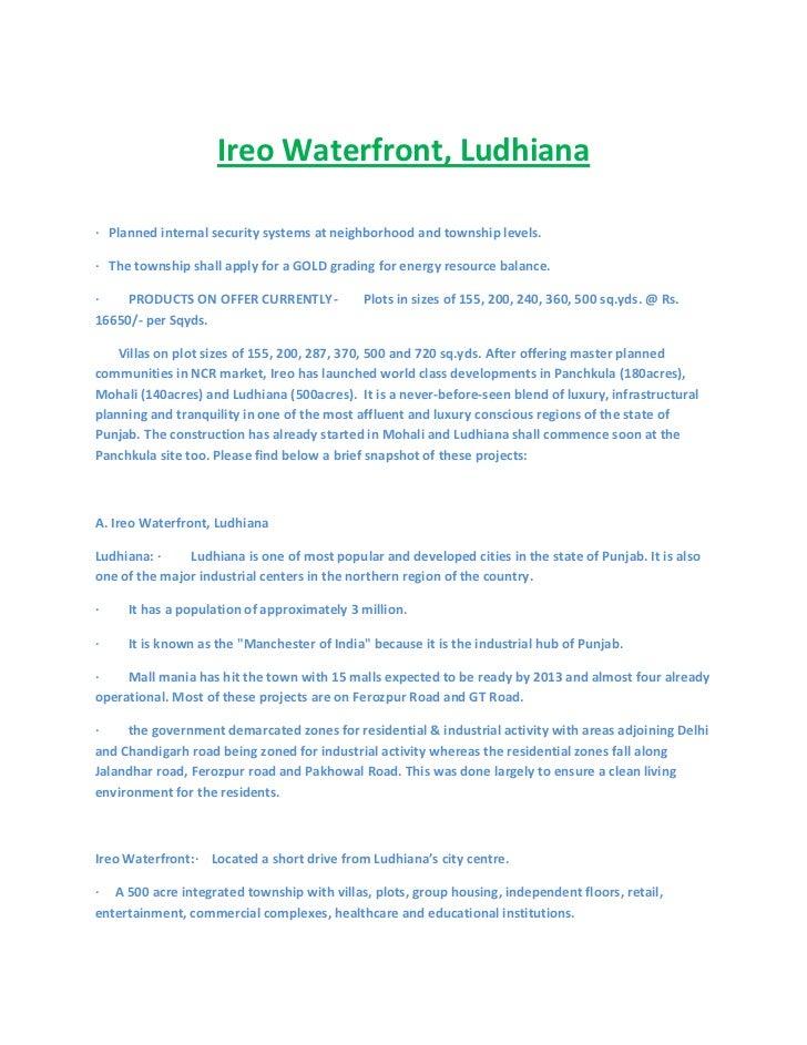 Ireo waterfront Ludhiana.