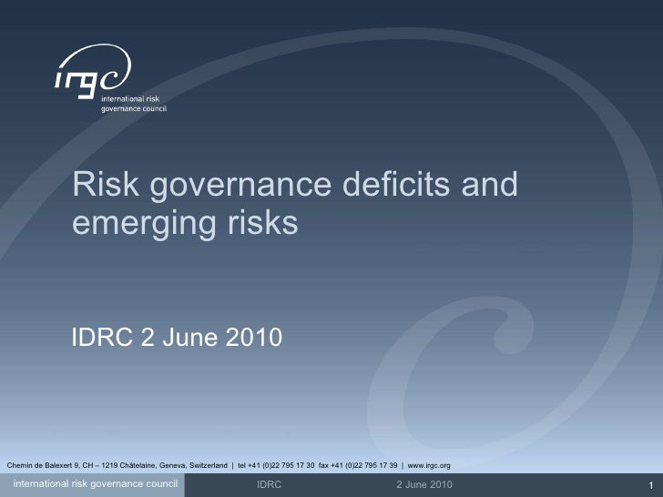 Risk governance deficits and emerging risks