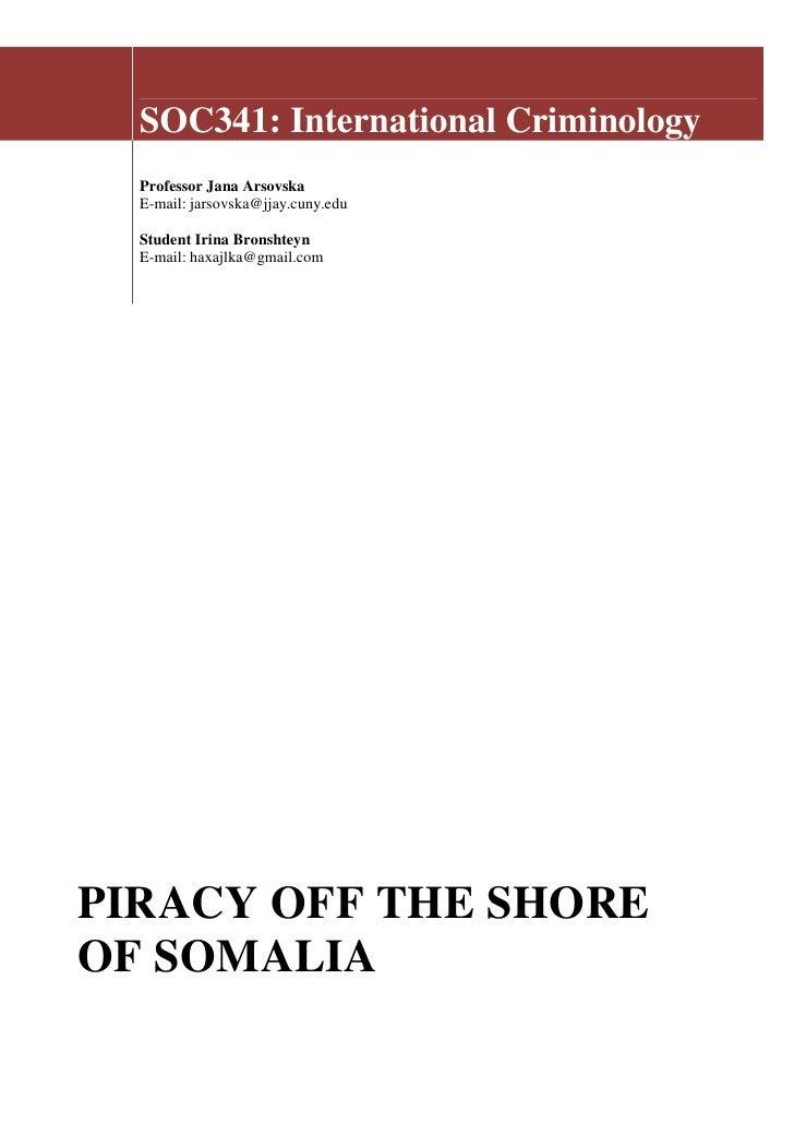 Irina Bronshteyn   Piracy Off The Coast Of Somalia