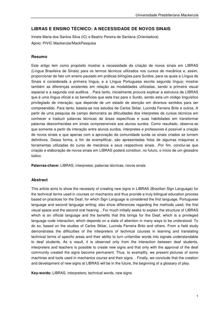 Universidade Presbiteriana MackenzieLIBRAS E ENSINO TÉCNICO: A NECESSIDADE DE NOVOS SINAISIrinete Maria dos Santos Silva (...
