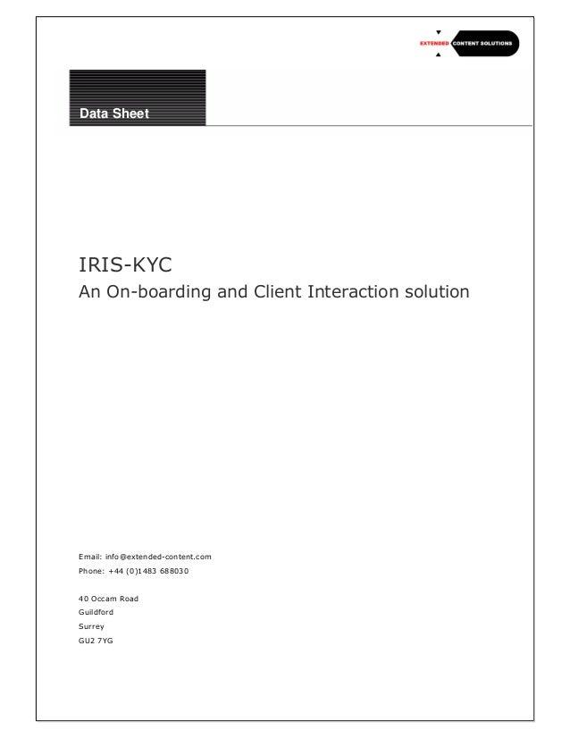 ECS IRIS Know Your Client (KYC) Solution