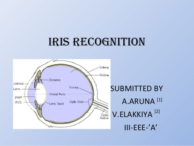IRIS RECOGNITION SUBMITTED BY A.ARUNA [1] V.ELAKKIYA [2] III-EEE-'A'