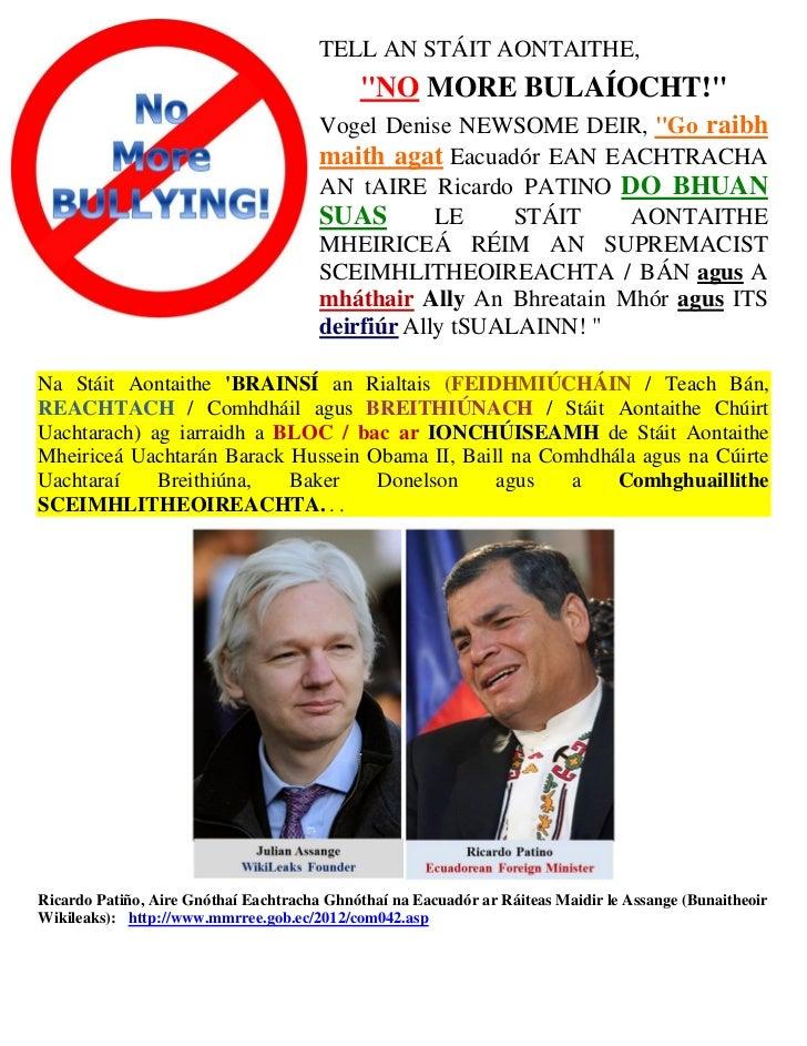 Irish   thank you to  republic of ecuador (asylum of julian assange)