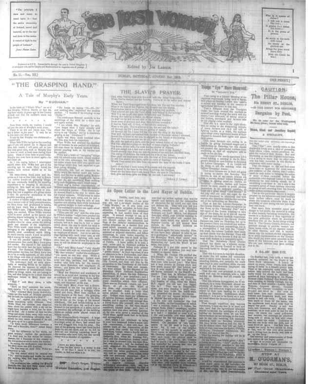 Irish worker 2 August 1913