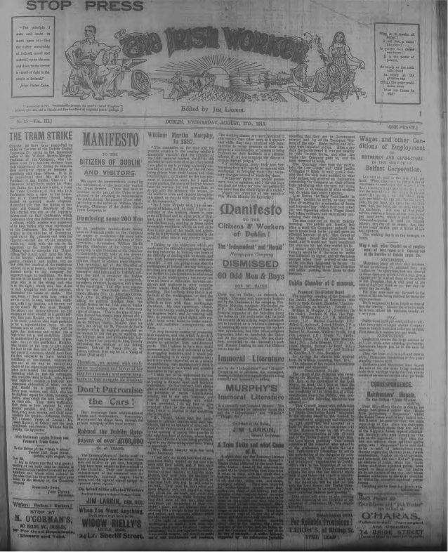 Irish Worker 27 August 1913