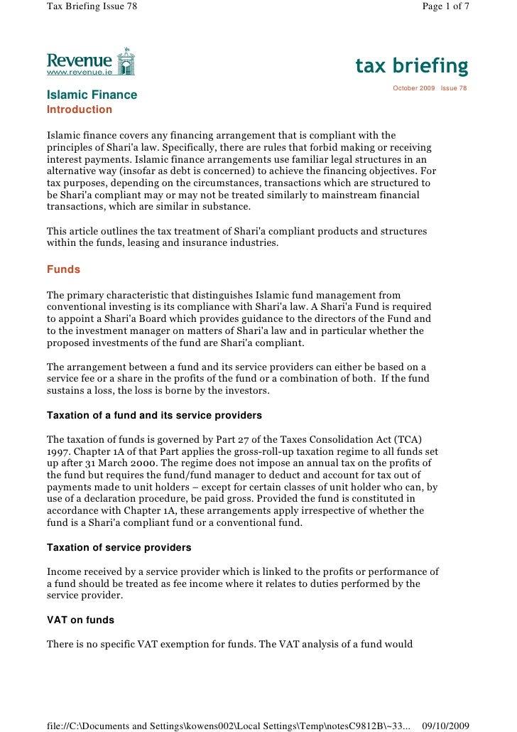 Irish Revenue Article On Islamic Finance 1009