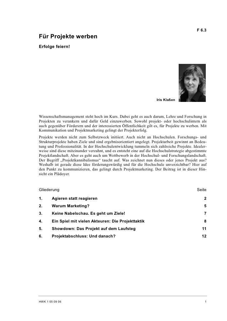 Iris Klaßen: Für Projekte werben