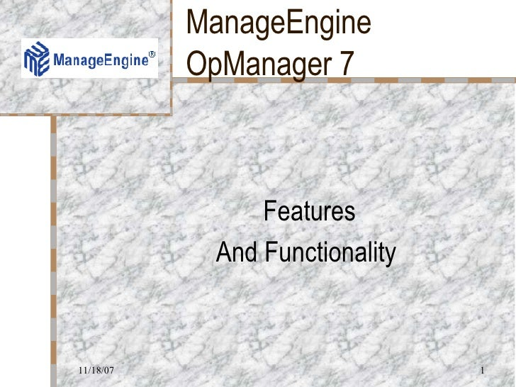 ManageEngine OpManager 7 Features And Functionality