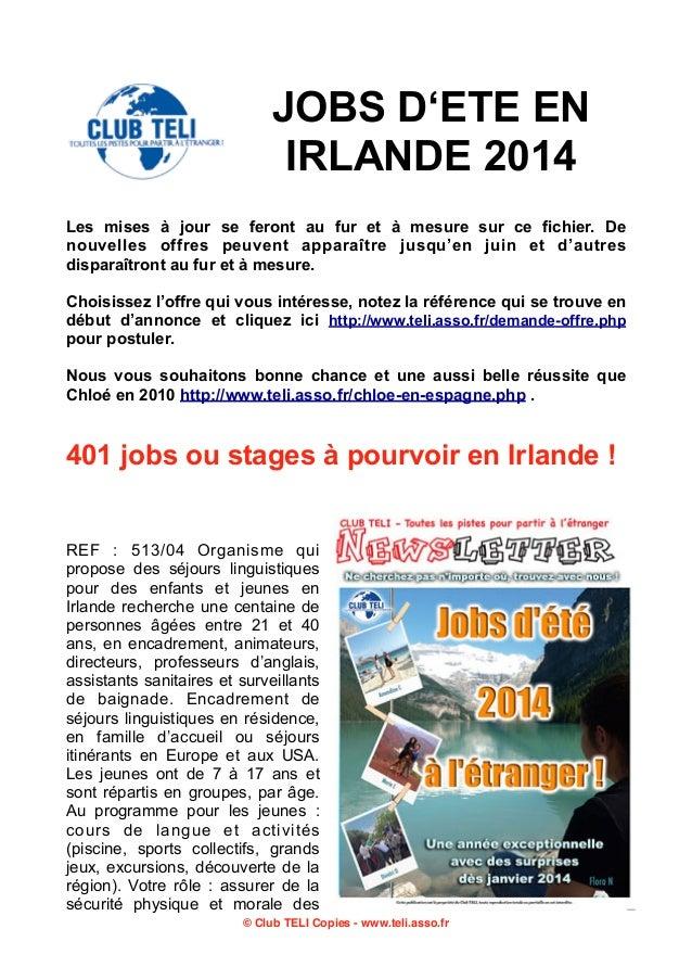 400 jobs d'été en Irlande