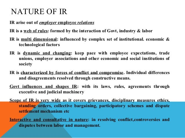 empoyee & industrial relations essay This circular sets out the key characteristics of a contract of service, which is the  employer/employee relationship and distinguishes these.
