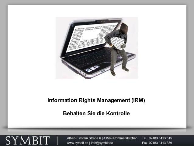 Information Rights Management (IRM) Behalten Sie die Kontrolle