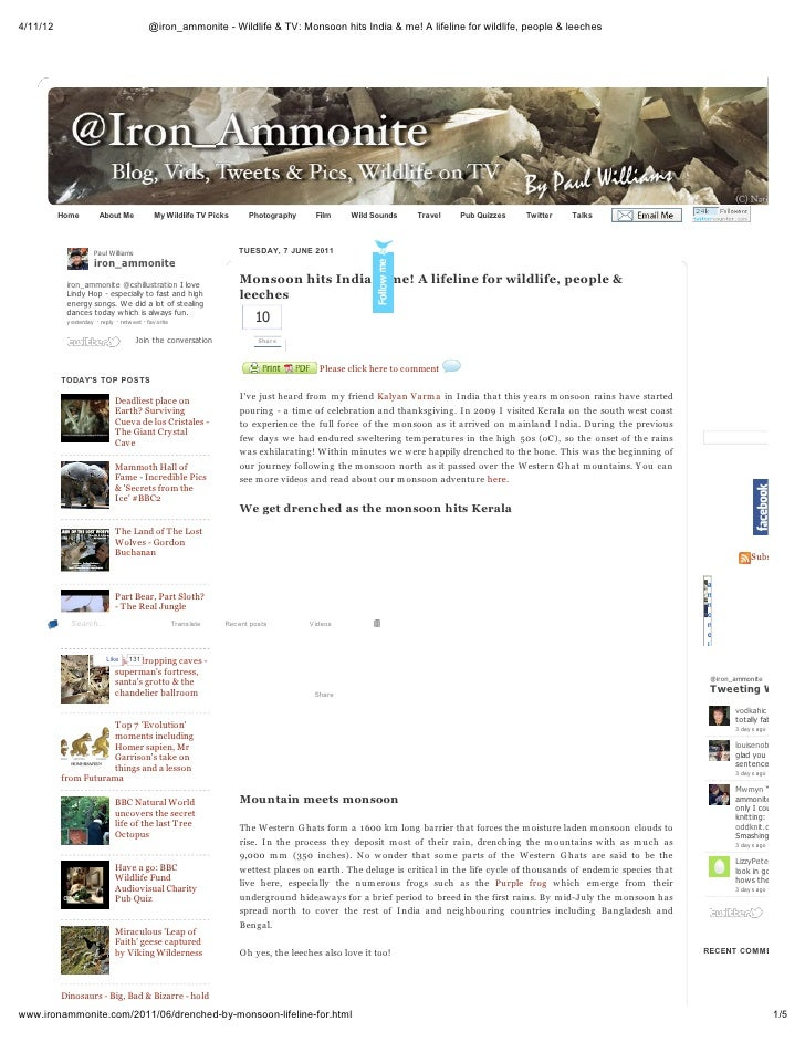 4/11/12                                     @iron_ammonite - Wildlife & TV: Monsoon hits India & me! A lifeline for wildli...