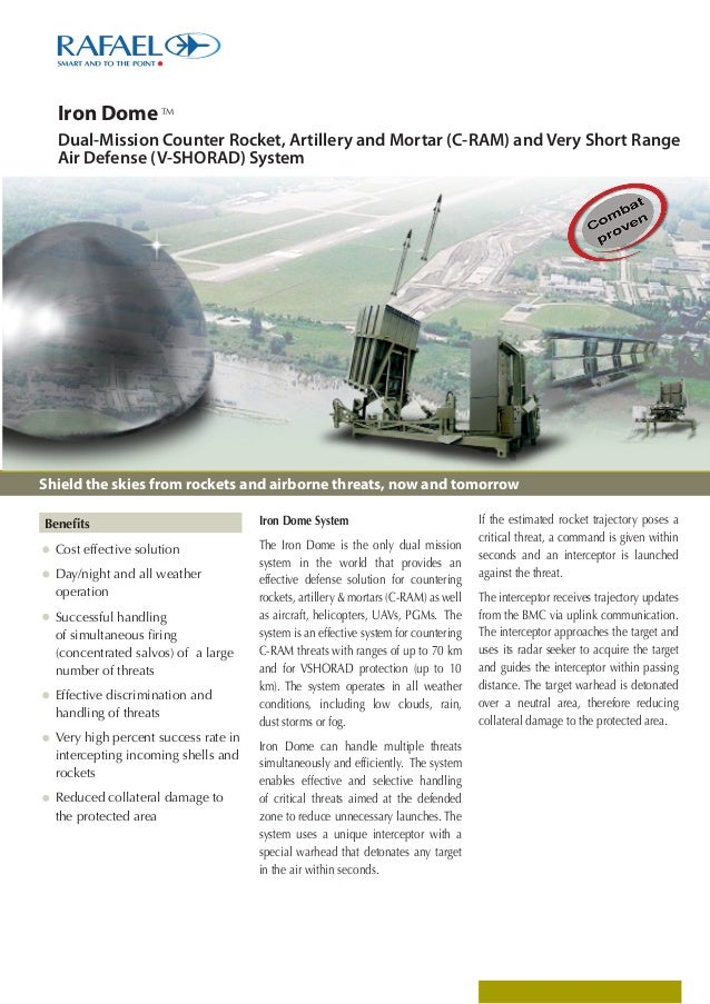 Iron Dome  TM  Dual-Mission Counter Rocket, Artillery and Mortar (C-RAM) and Very Short Range Air Defense (V-SHORAD) Syste...