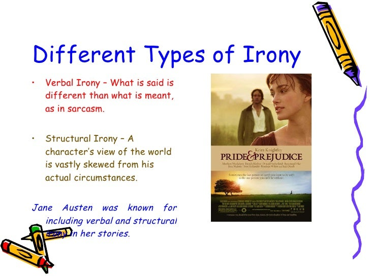 3 types of irony Irony in its broadest sense, is a rhetorical device, literary technique, or event in  which what appears, on the surface, to be the case, differs.