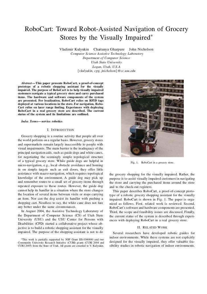 RoboCart: Toward Robot-Assisted Navigation of Grocery                Stores by the Visually Impaired∗                     ...