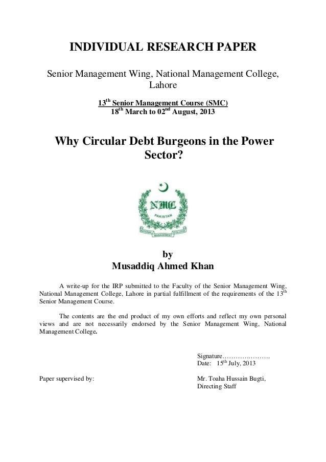 Why Circular Debt Burgeons in the Power Sector? Case of Pakistan