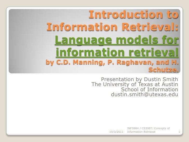 Language Models for Information Retrieval