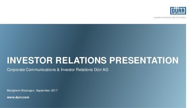 www.durr.com  WELCOME  PRESENTATION  DÜRR INVESTOR RELATIONS  November 2014