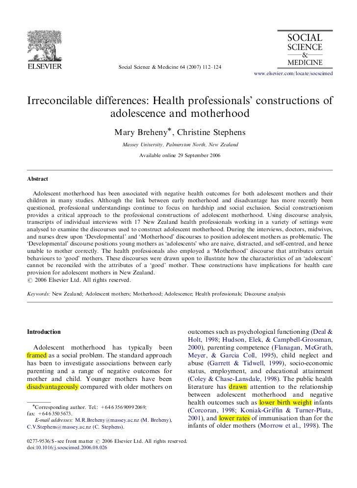 ARTICLE IN PRESS                                         Social Science & Medicine 64 (2007) 112–124                      ...