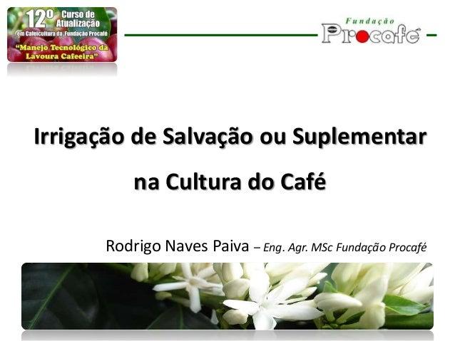 Irrigação de Salvação ou Suplementar na Cultura do Café Rodrigo Naves Paiva – Eng. Agr. MSc Fundação Procafé