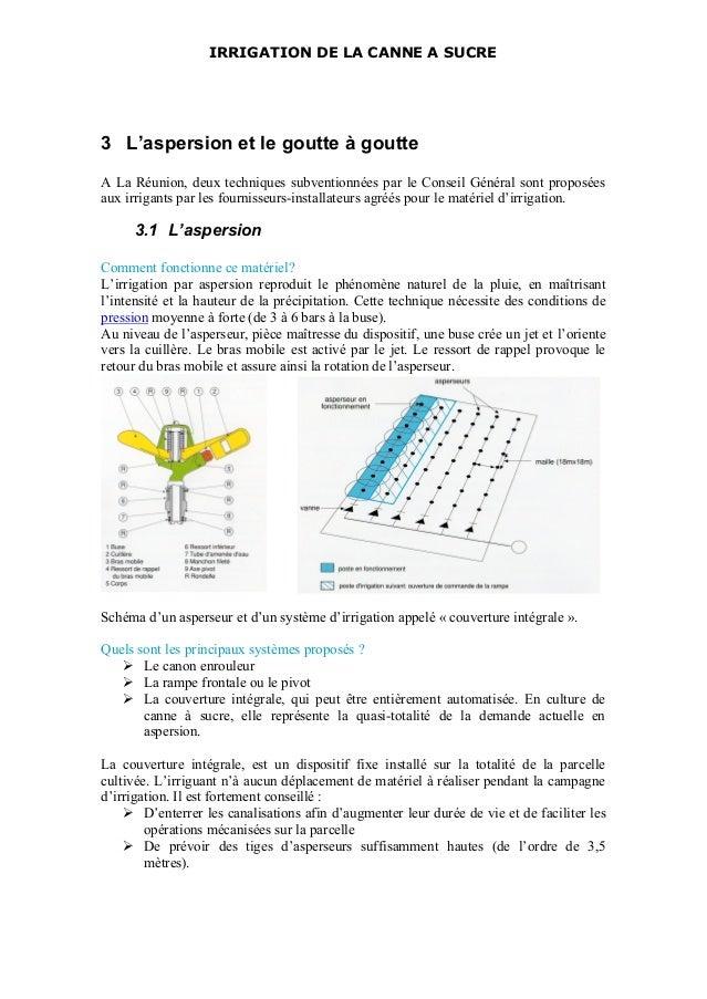 IRRIGATION DE LA CANNE A SUCRE 3 L'aspersion et le goutte à goutte A La Réunion, deux techniques subventionnées par le Con...