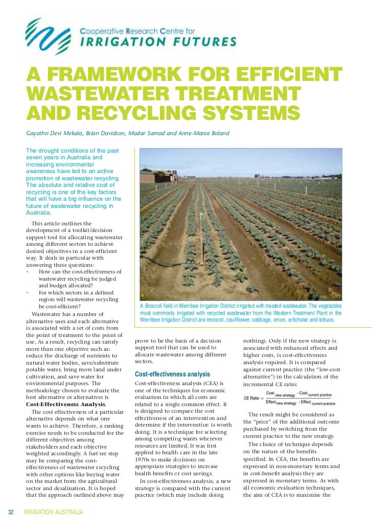 Irrigation futures   a framework for efficient wastewater treatment and recycling systems