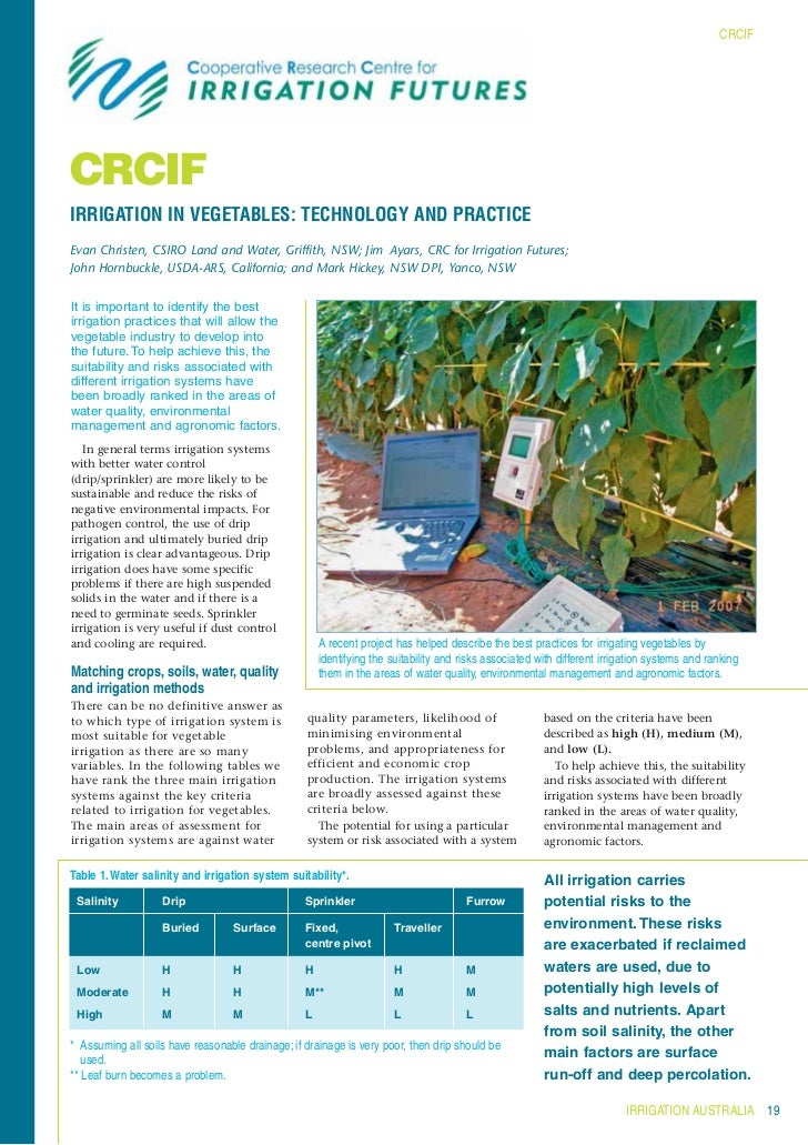 Irrigation futures - irrigation in vegetables, technology and practice