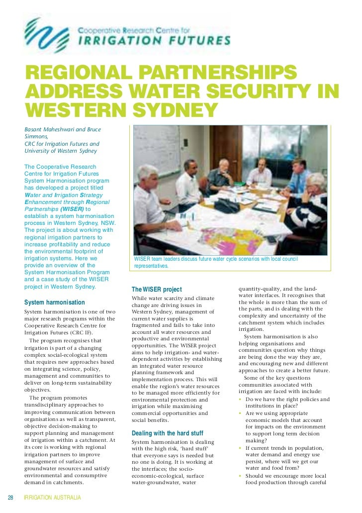 REGIONAL PARTNERSHIPS     ADDRESS WATER SECURITY IN     WESTERN SYDNEY     Basant Maheshwari and Bruce     Simmons,     CR...