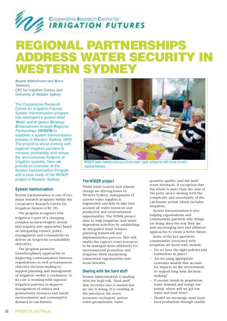 Irrigation futures  -  Regional Partnerships address water security in western sydney