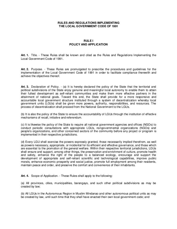 RULES AND REGULATIONS IMPLEMENTING                               THE LOCAL GOVERNMENT CODE OF 1991                        ...