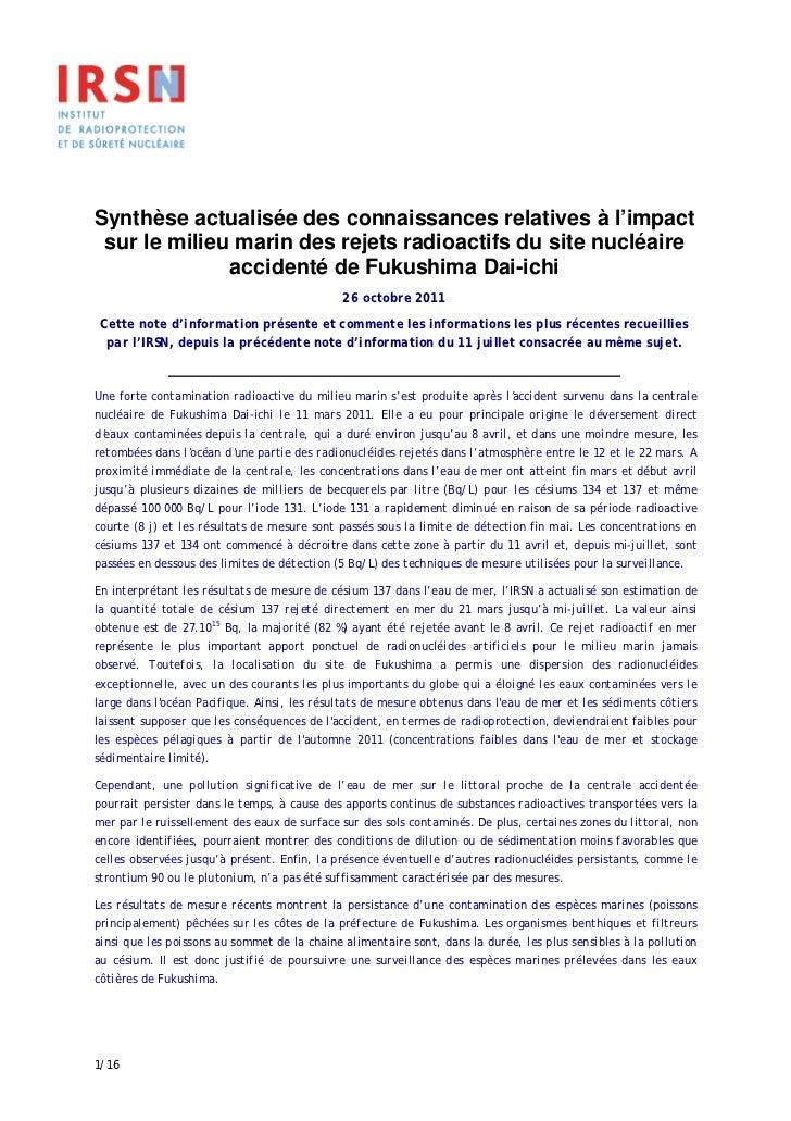 Synthèse actualisée des connaissances relatives à l'impact sur le milieu marin des rejets radioactifs du site nucléaire   ...