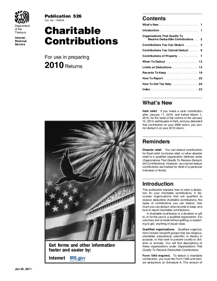 IRS Publication 526 Charitable donations