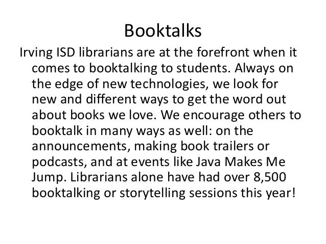 Irvingisd booktalks